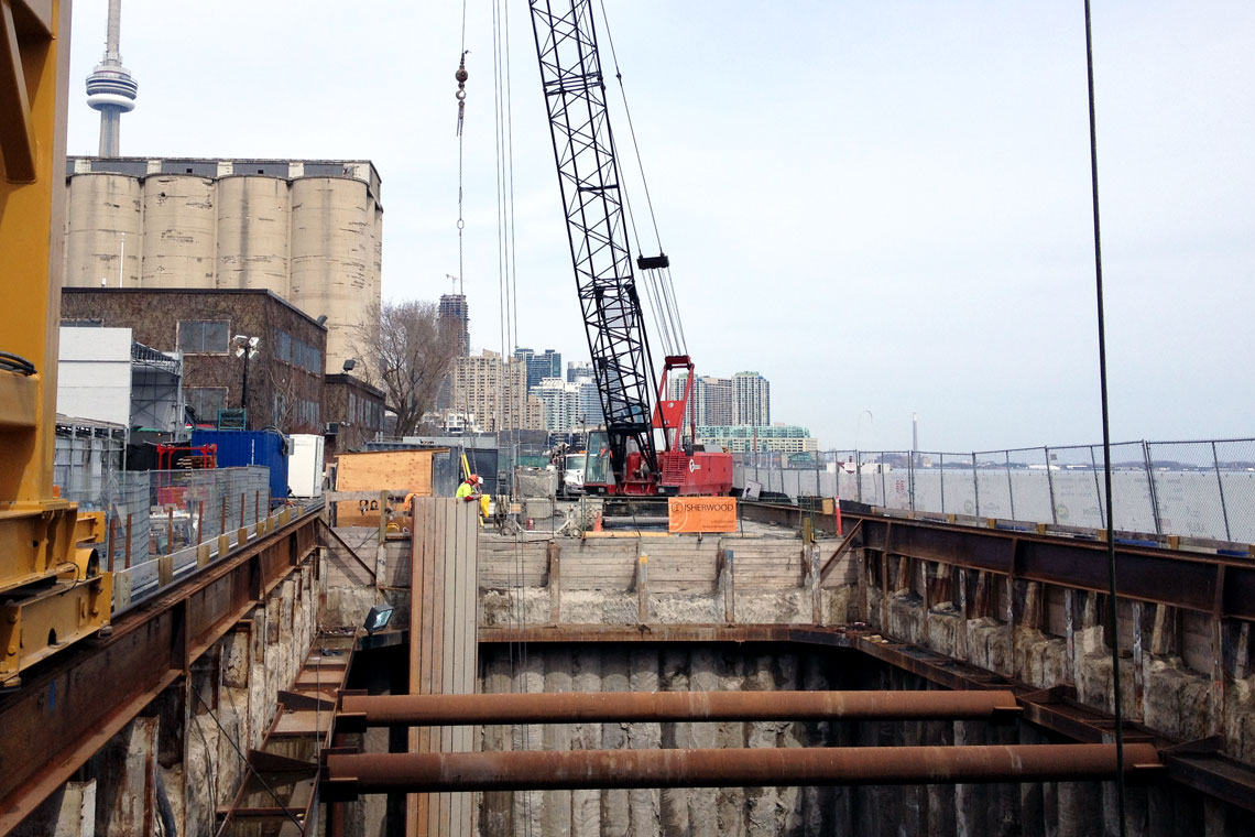 Shaft excavation at Billy Bishop Toronto City Airport Pedestrian Tunnel.