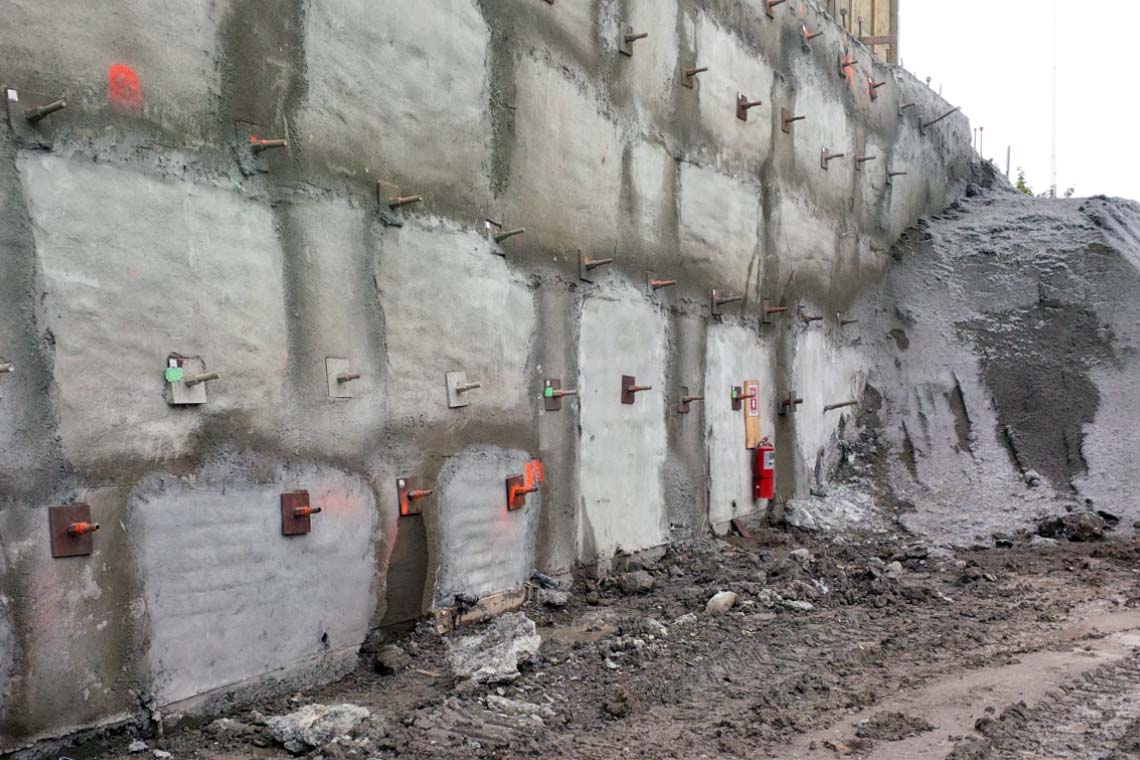 Shotcrete shoring wall at Keele Station in Toronto, Ontario.